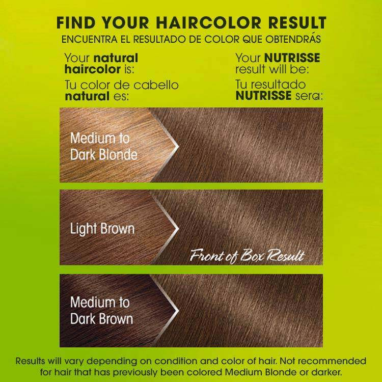 Nutrisse 61 light ash brown before after swatch