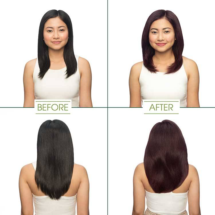 Garnier Hair Color - Darkest Golden Brown before and after