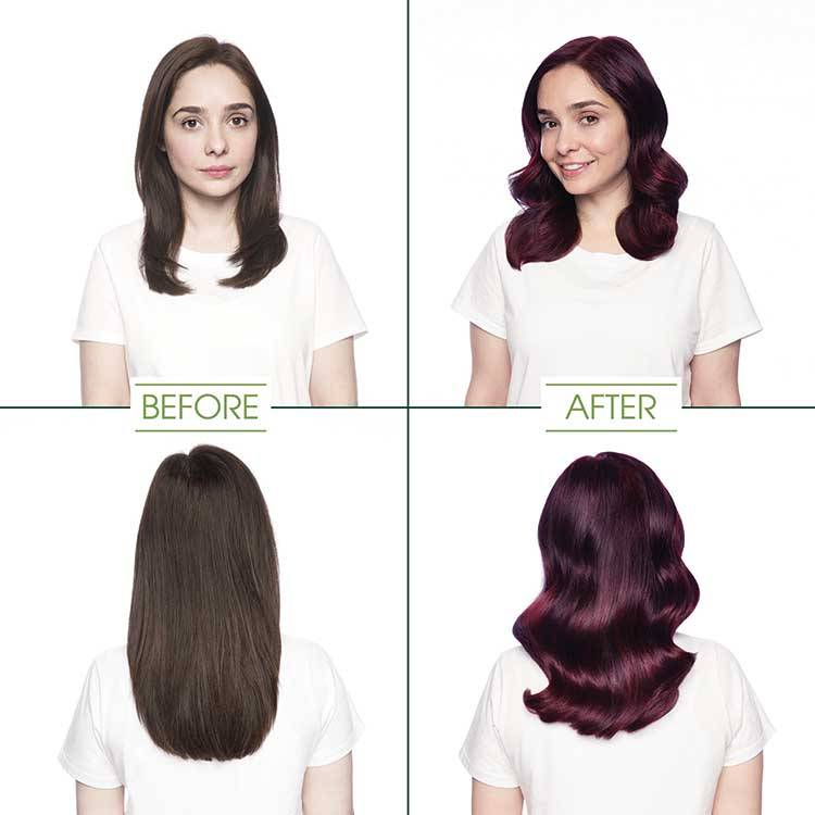 garnier hair color deep burgundy darkest red rose shade before and after