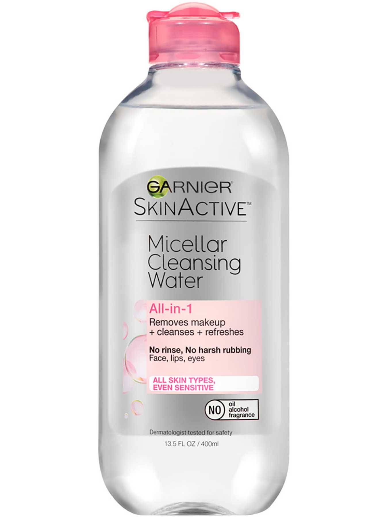 Front view of Pink Cap Cleansing Water All-in-1, All Skin Types.