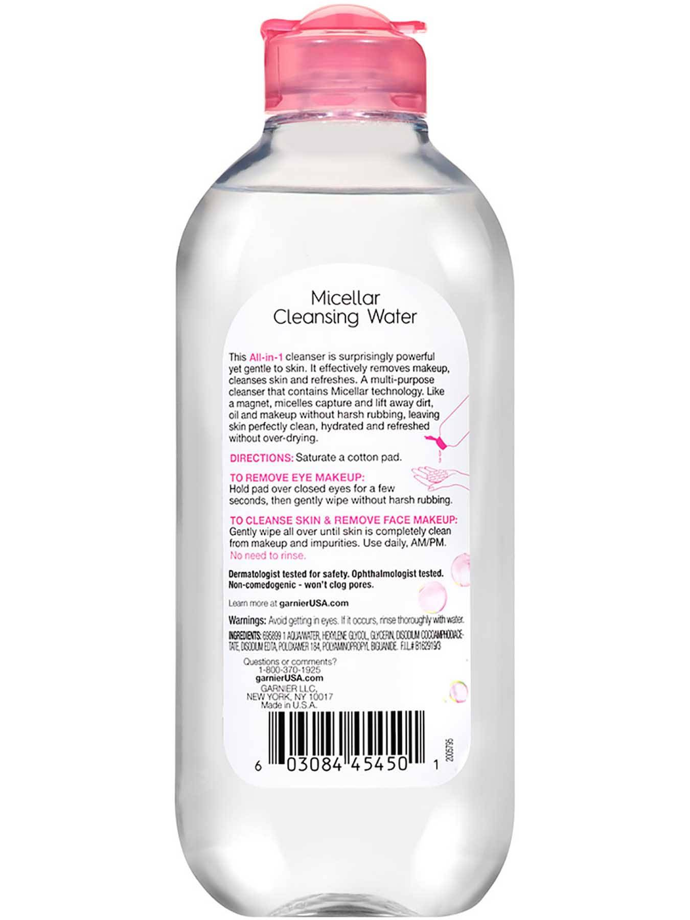Back view of Pink Cap Cleansing Water All-in-1, All Skin Types.