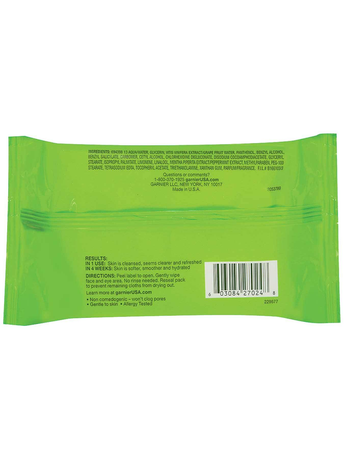 Garnier SkinActive Clean Plus Oil-Free Cleansing Towelettes For Oily Skin Front