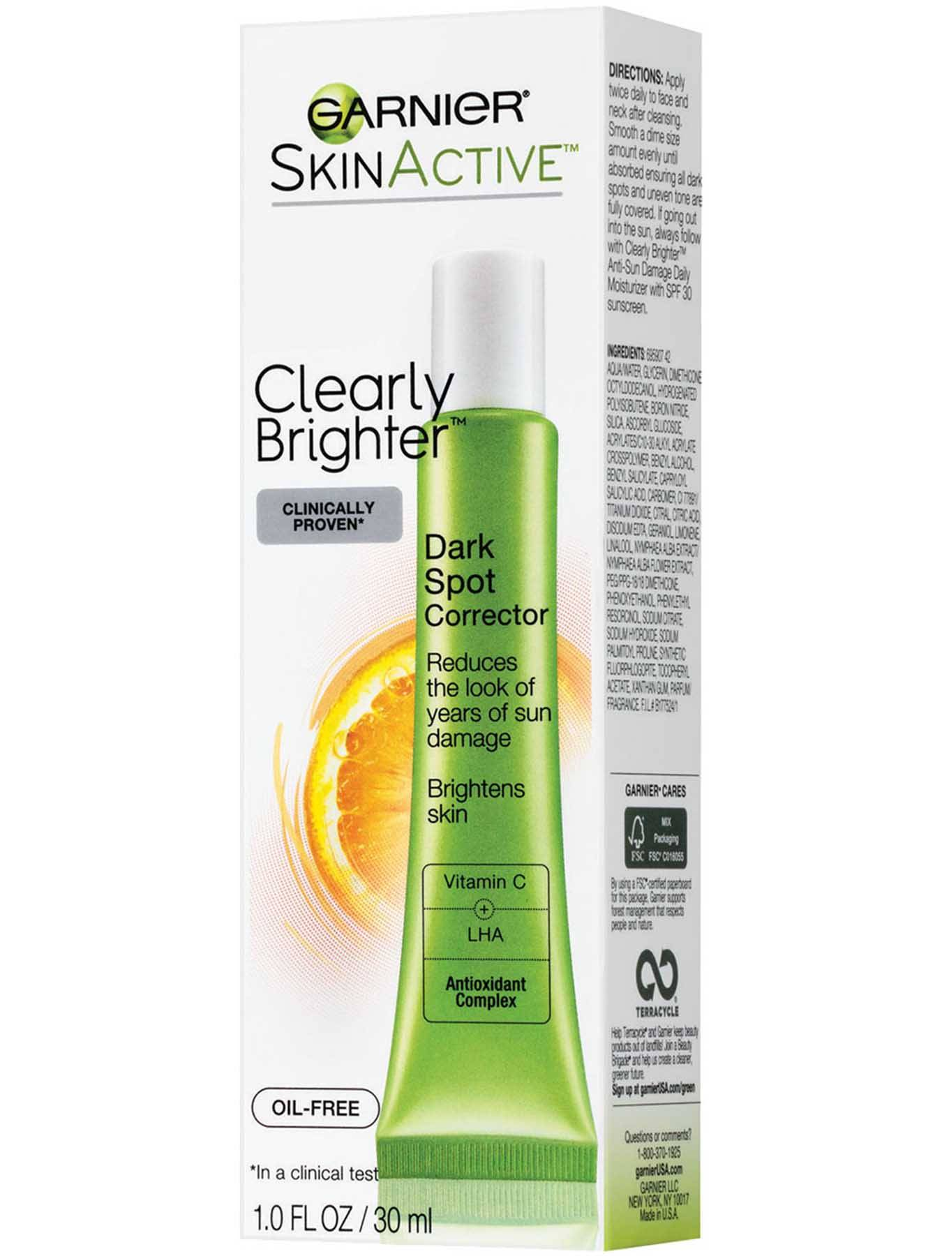 Garnier SkinActive Clearly Brighter Dark Spot Corrector Box Front Of Bottle