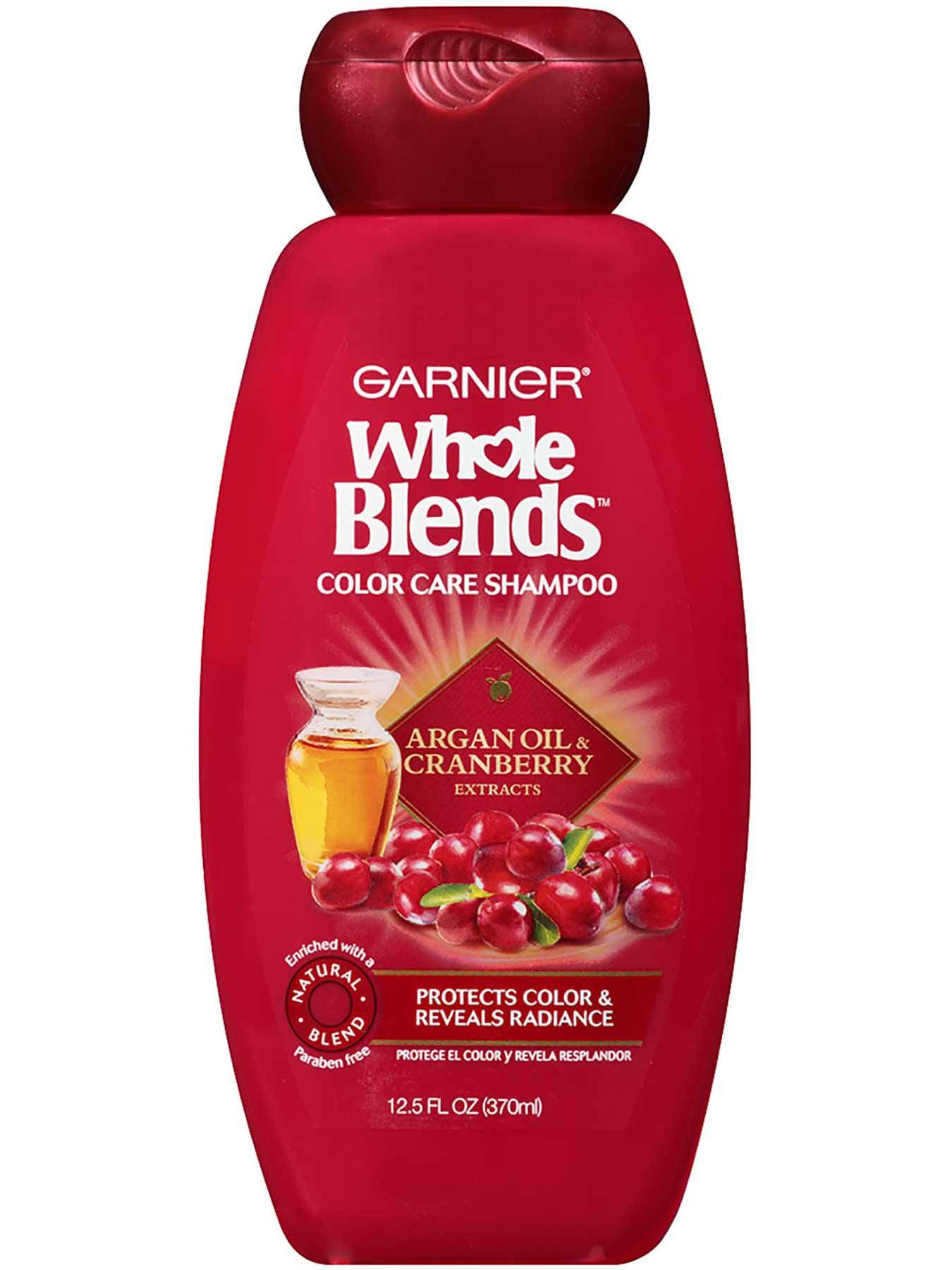 Garnier Whole Blends Color Care Shampoo Argan Oil Cranberry Extracts Front Of Bottle