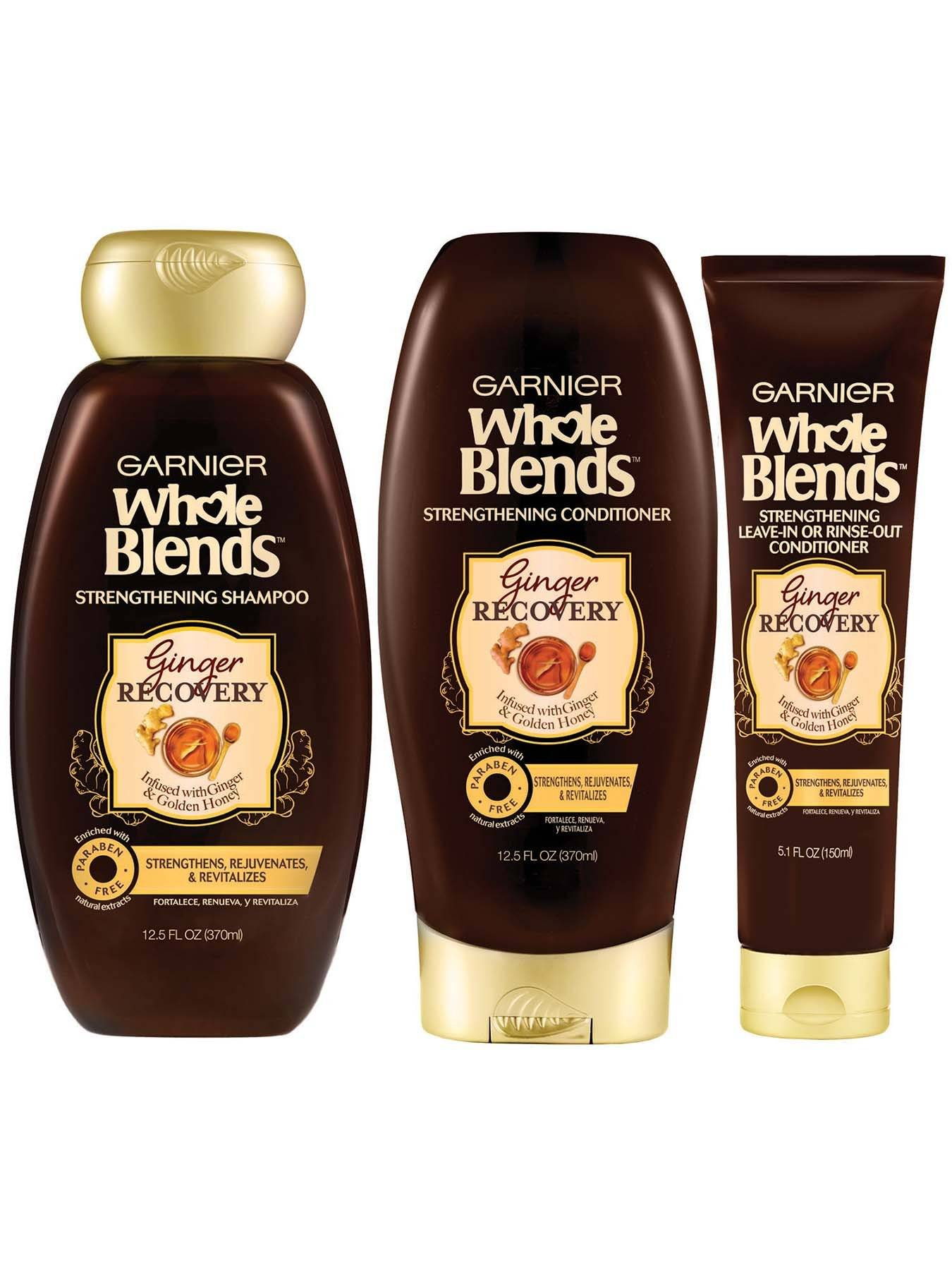 Front view of Garnier Whole Blends™ Ginger Recovery Strengthening Shampoo, Ginger Recovery Strengthening Conditioner, and Ginger Recovery Leave-In or Rinse-Out Treatment.