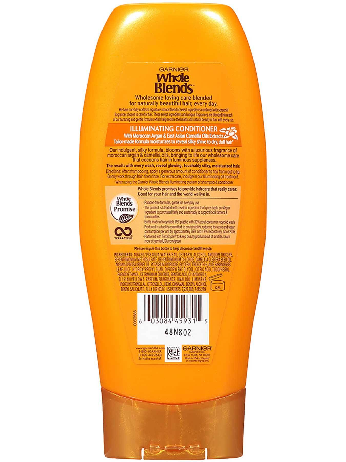 Garnier Whole Blends Illuminating Conditioner Moroccan Argan Camellia Oils Extracts Back Of Bottle