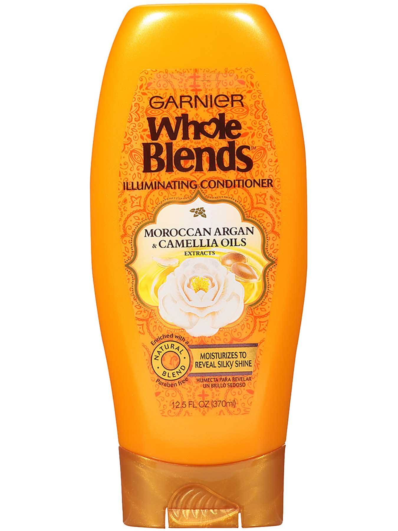 Garnier Whole Blends Illuminating Conditioner Moroccan Argan Camellia Oils Extracts Front Of Bottle