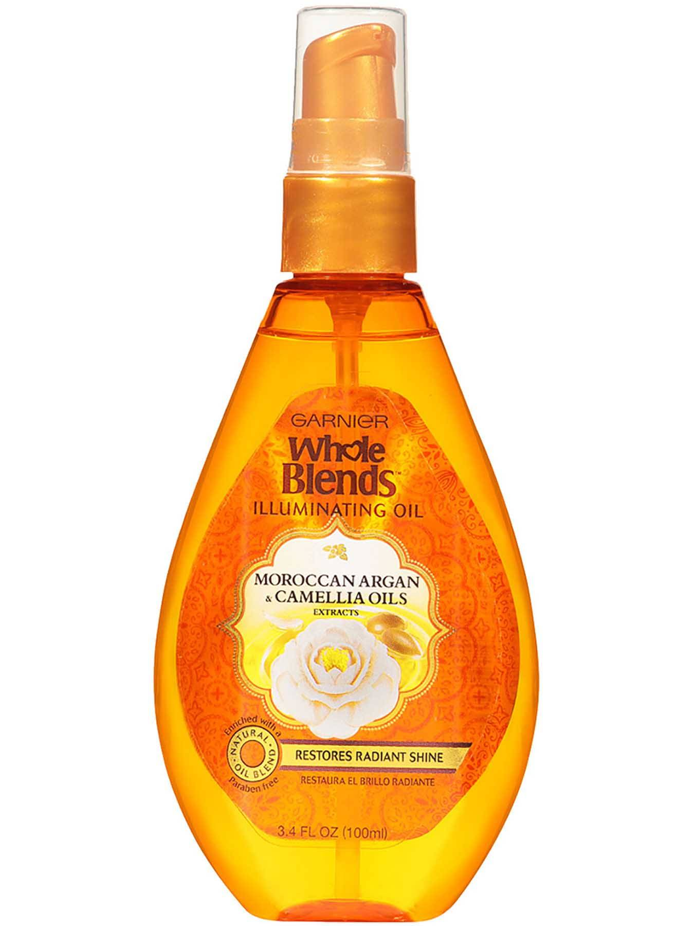 Garnier Whole Blends Illuminating Oil Moroccan Argan Camellia Oils Extracts Front Of Bottle