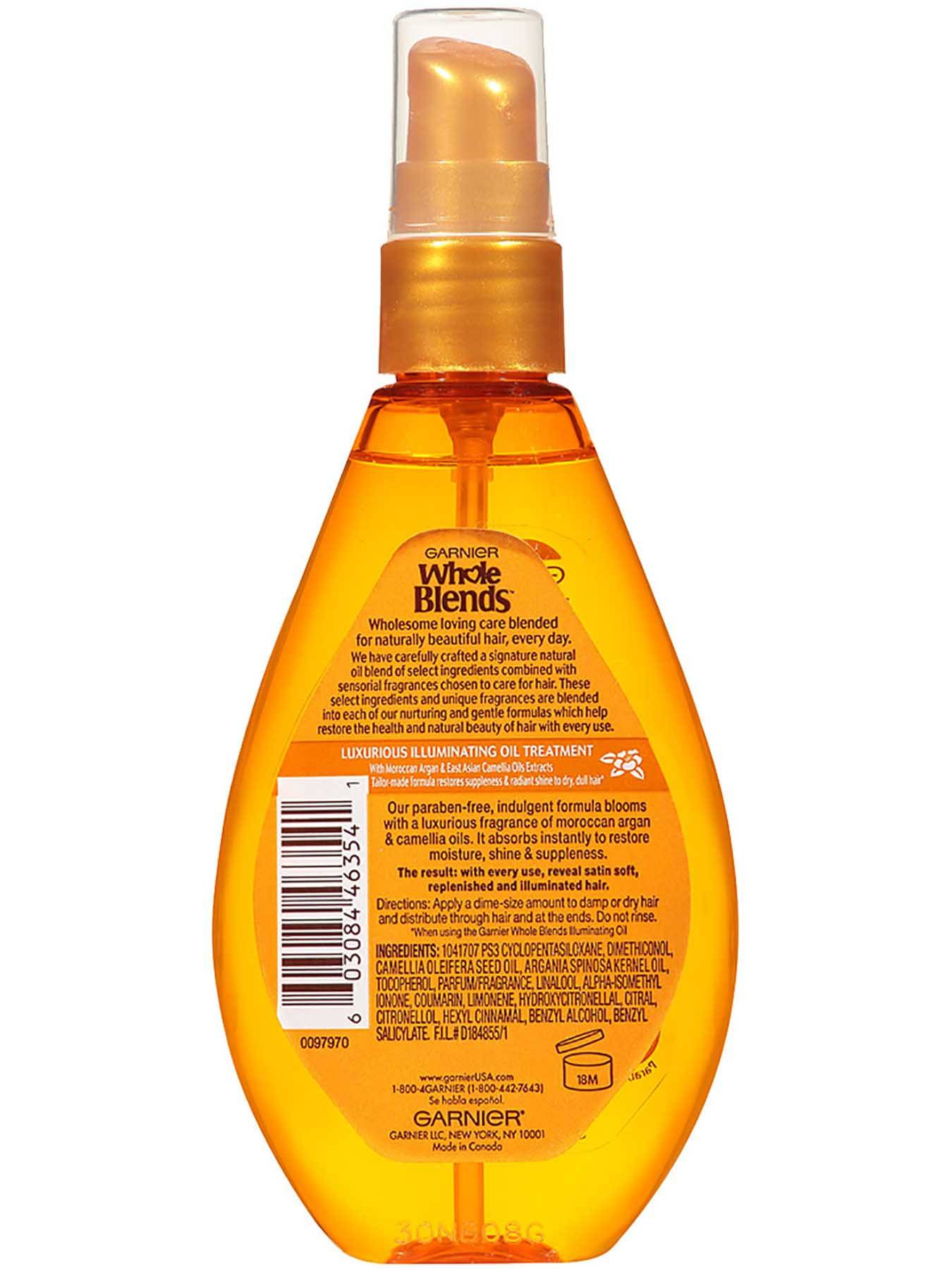 Garnier Whole Blends Illuminating Oil Moroccan Argan Camellia Oils Extracts Back Of Bottle