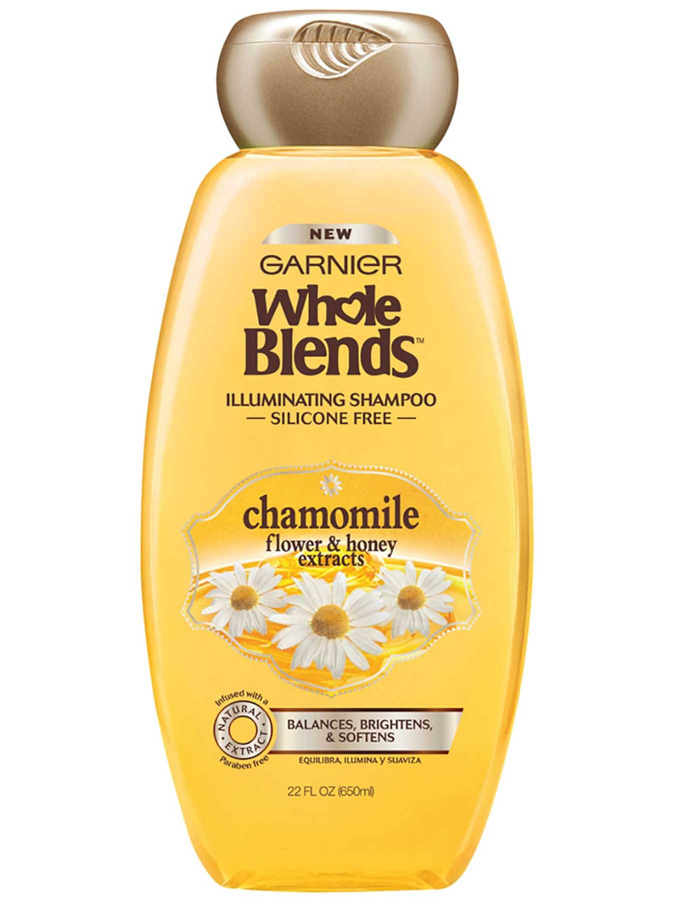 Garnier Whole Blends Illuminating Shampoo Chamomile Flower Honey Extracts Silicone-Free