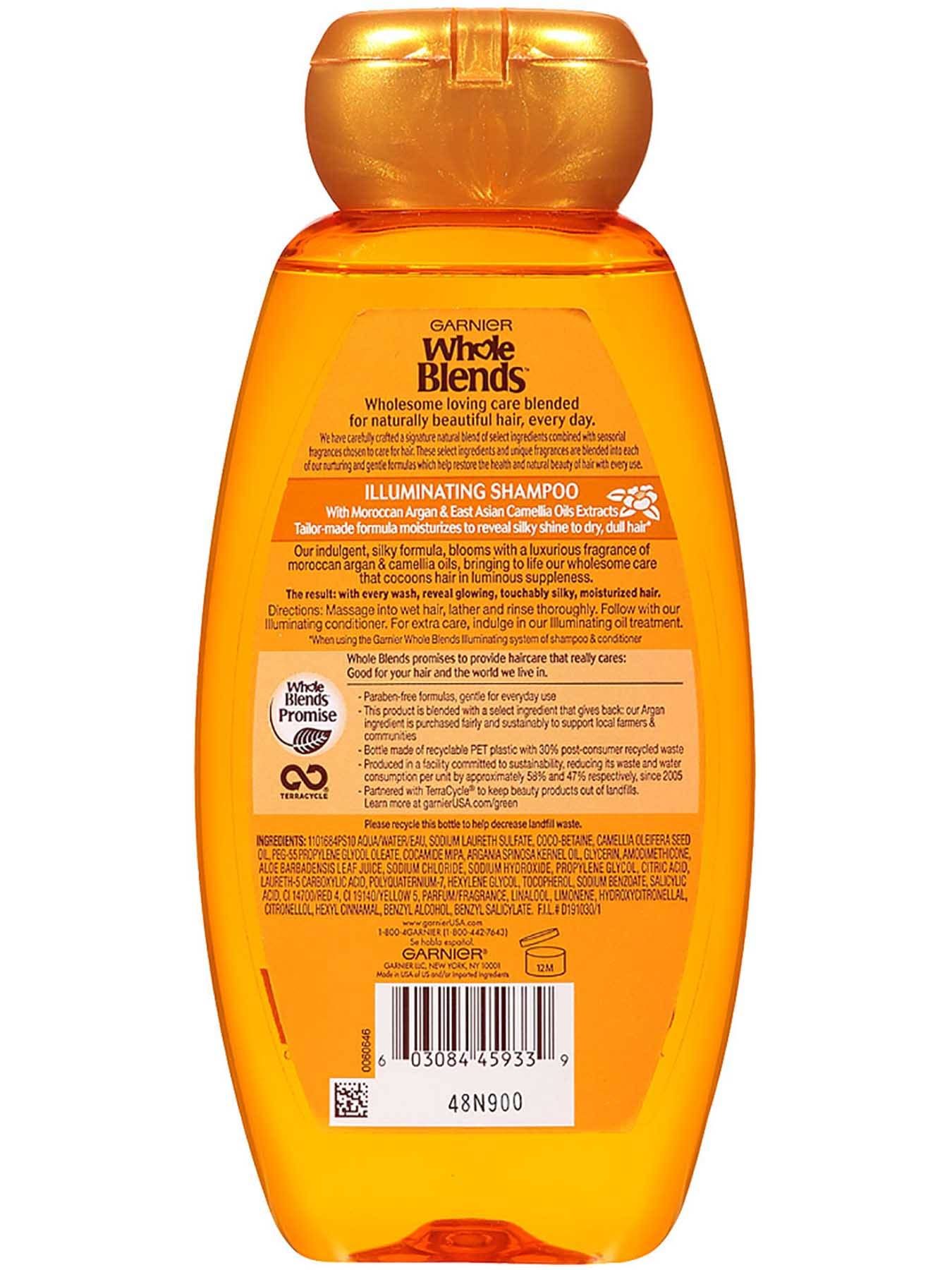 Garnier Whole Blends Illuminating Shampoo Moroccan Argan Camellia Oils Extracts Back Of Bottle