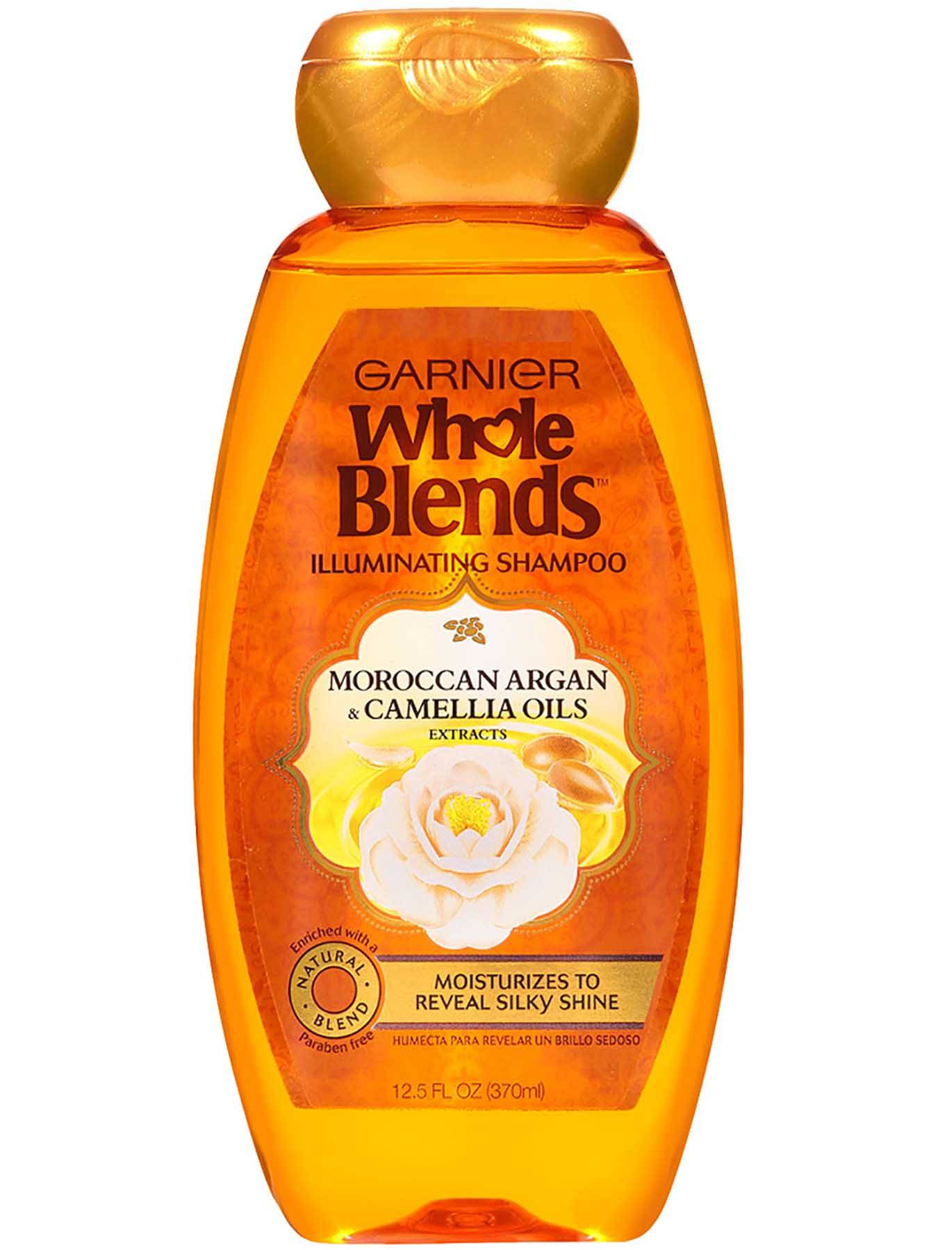 Garnier Whole Blends Illuminating Shampoo Moroccan Argan Camellia Oils Extracts Front Of Bottle