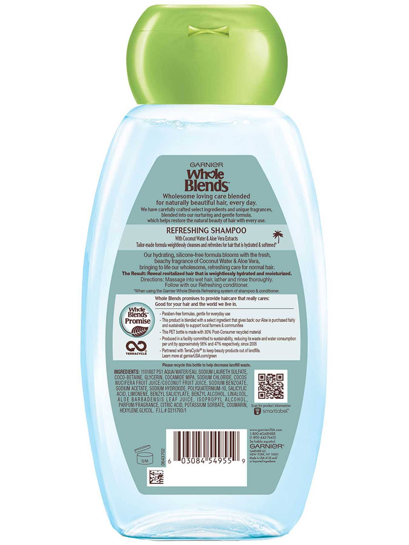 Back view of Hydrating Shampoo with Coconut Water & Aloe Vera extracts.