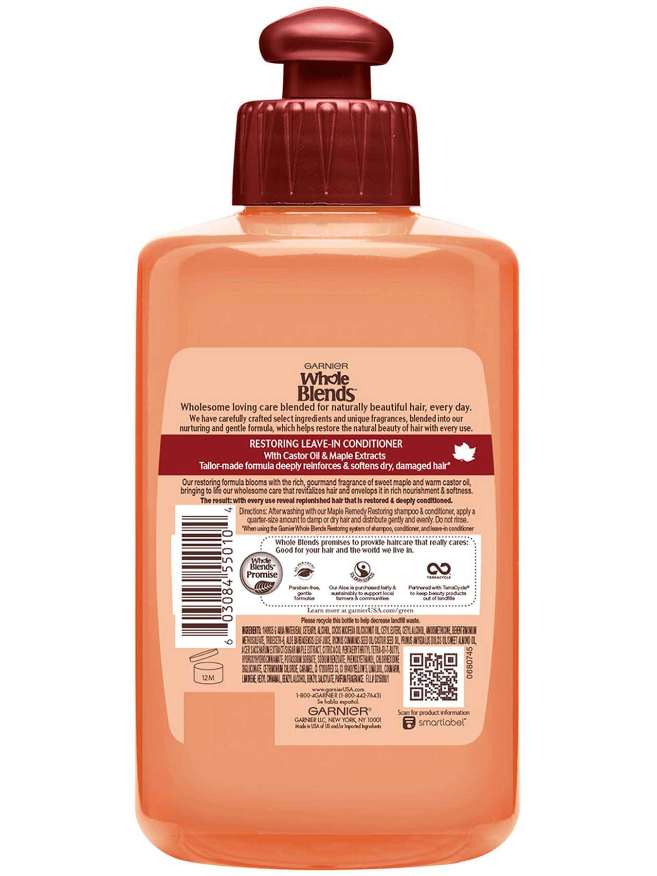 Garnier Whole Blends Castor Oil and Maple Extracts back of leave in conditioner