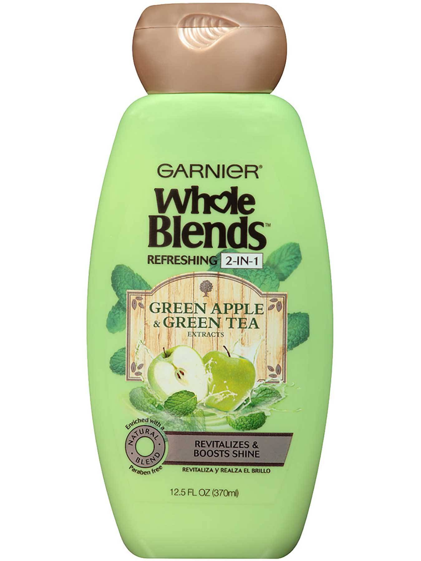 Front view of Refreshing 2-in-1 Shampoo with Green Apple & Green Tea extracts.
