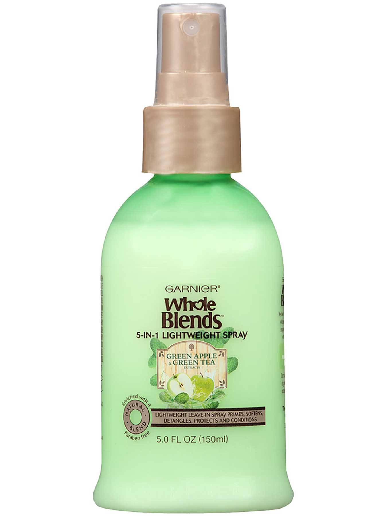 Garnier Whole Blends Refreshing 5-in-1 Lightweight Spray Green Apple Green Tea Extracts Front Of Bottle