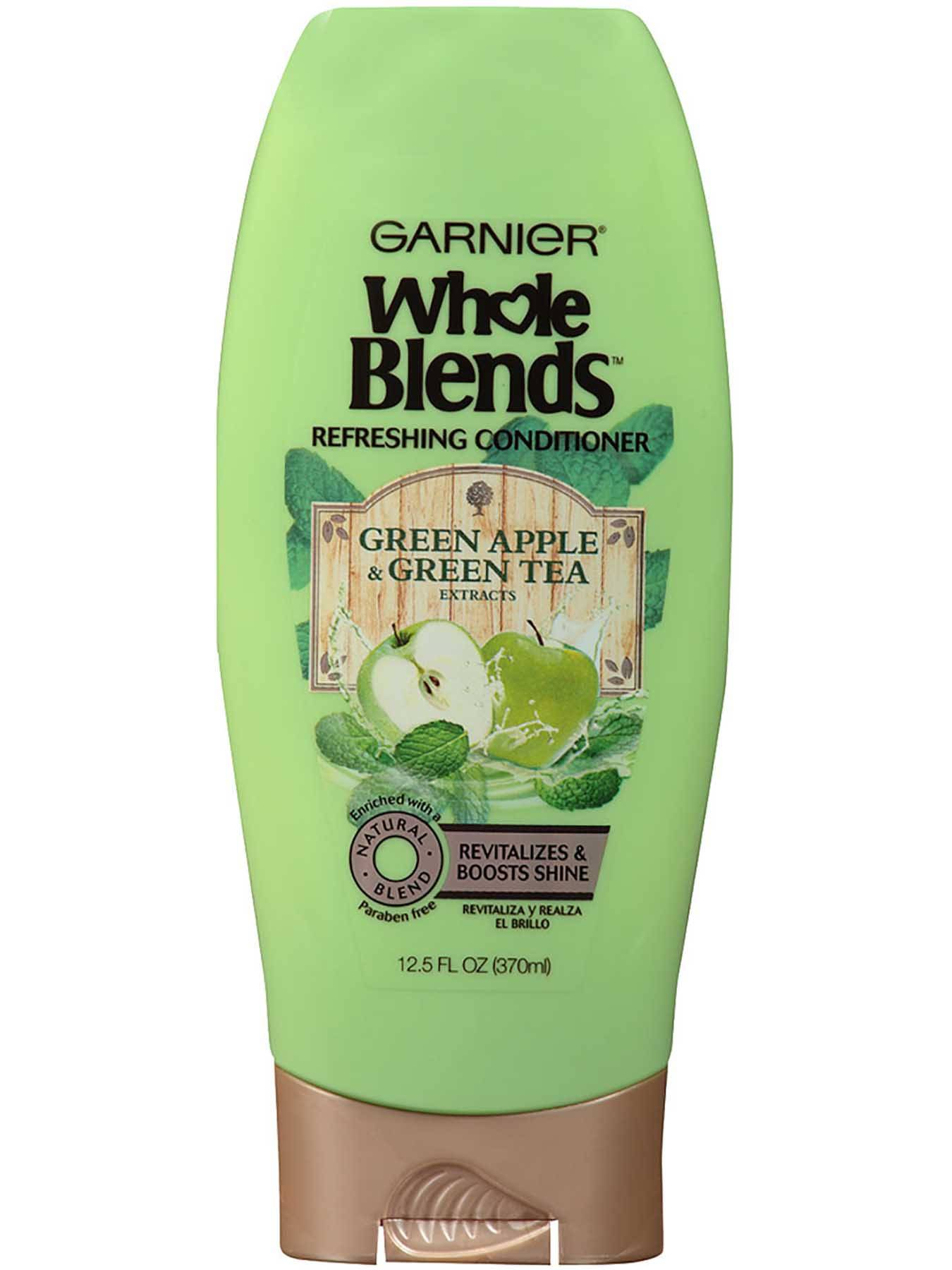 Garnier Whole Blends Refreshing Conditioner Green Apple Green Tea Extracts Front Of Bottle