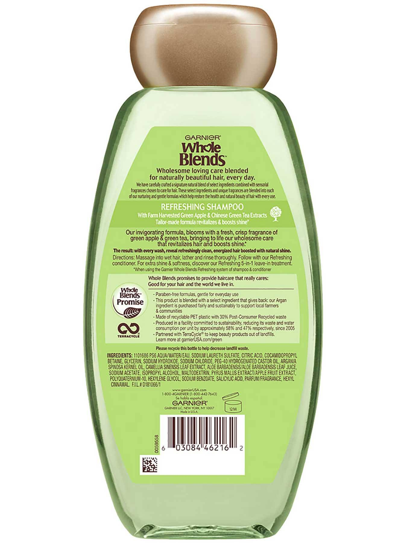 Garnier Whole Blends Refreshing Shampoo Green Apple Green Tea Extracts Back Of Bottle