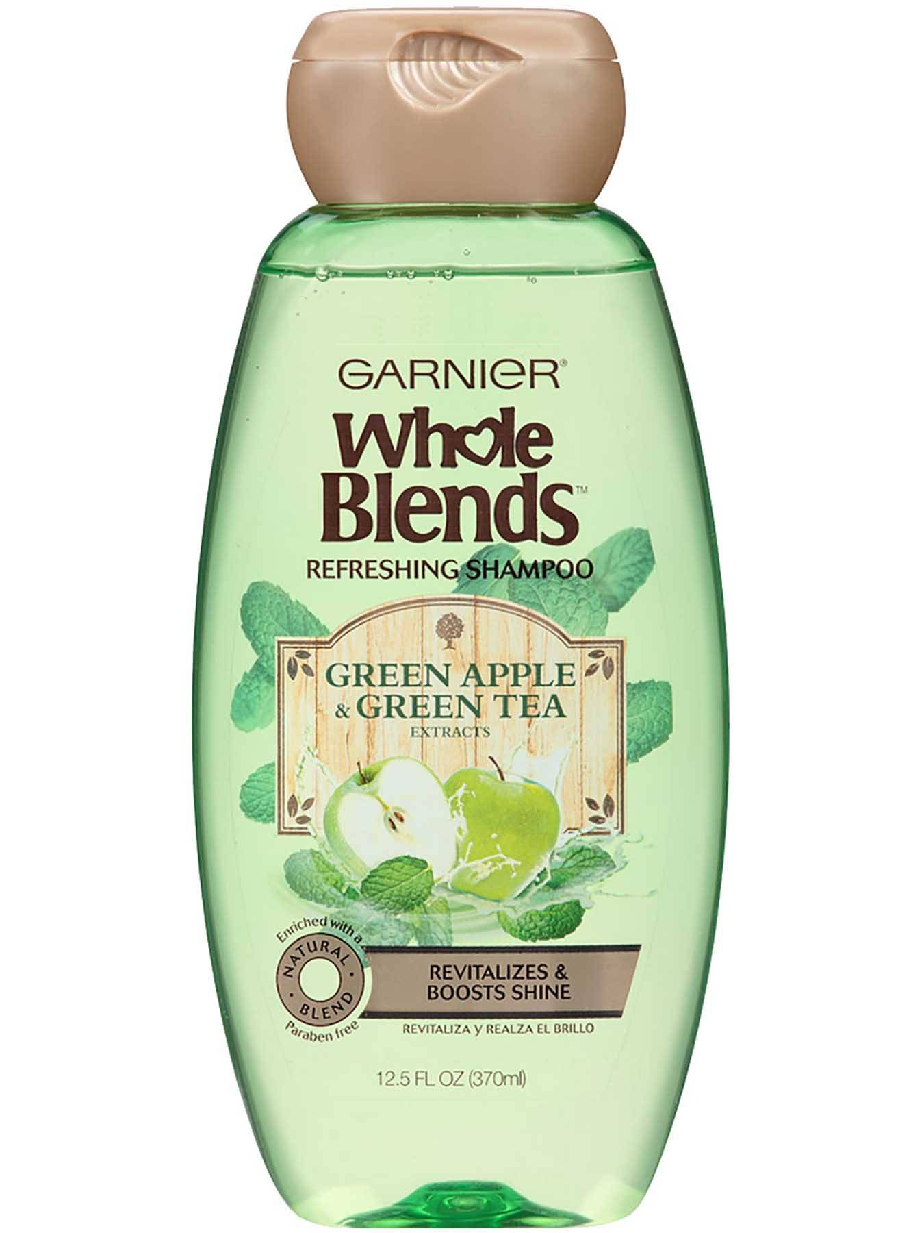Front view of Refreshing Shampoo with Green Apple and Green Tea Extracts.