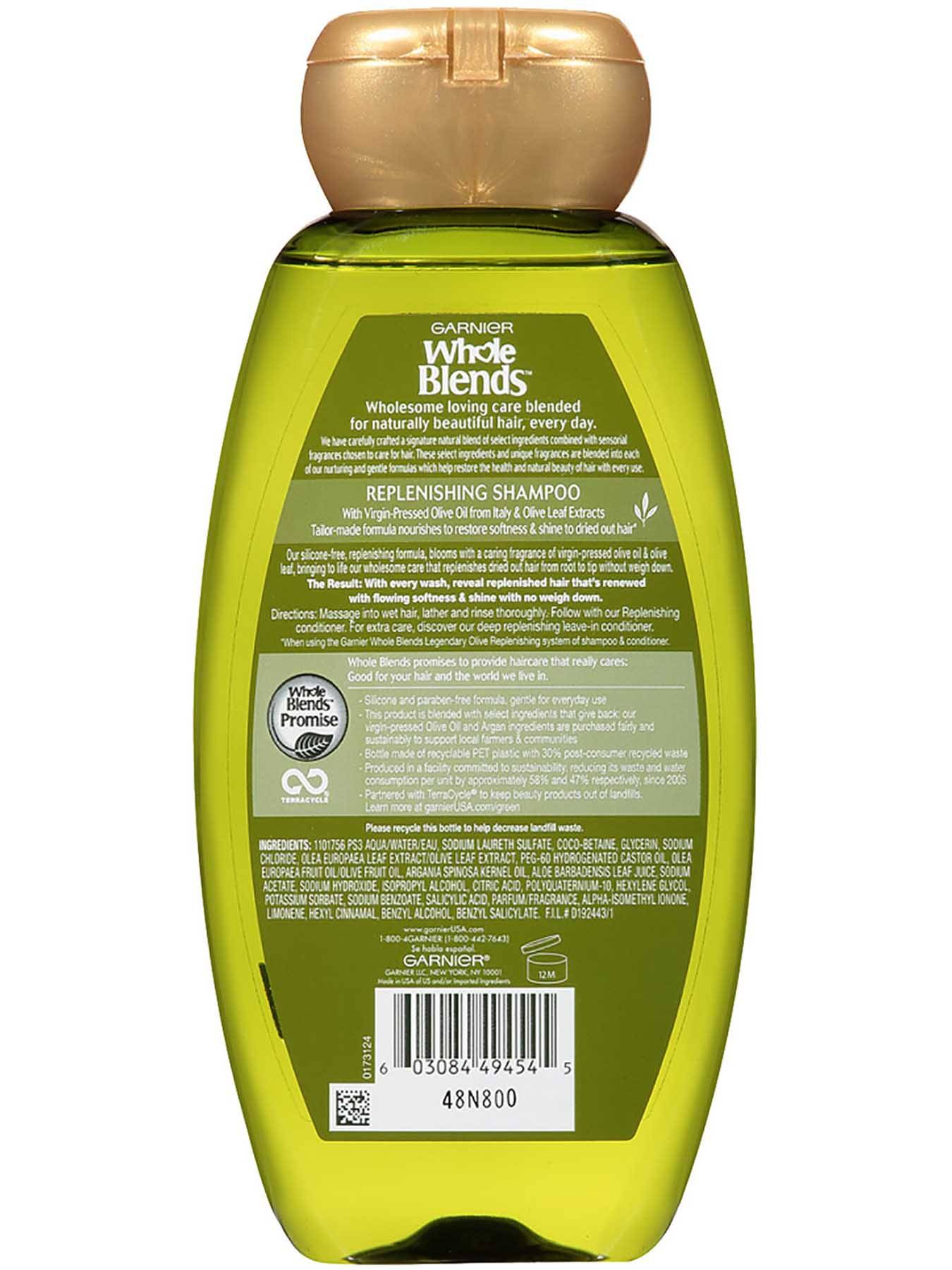 Garnier Whole Blends Replenishing Shampoo Legendary Olive Virgin Olive Oil Olive Leaf Extracts