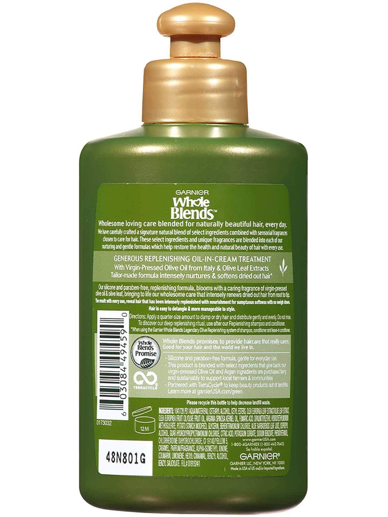 Back view of Replenishing Leave-In Conditioner with Legendary Virgin-Pressed Olive Oil and Olive Leaf Extracts.