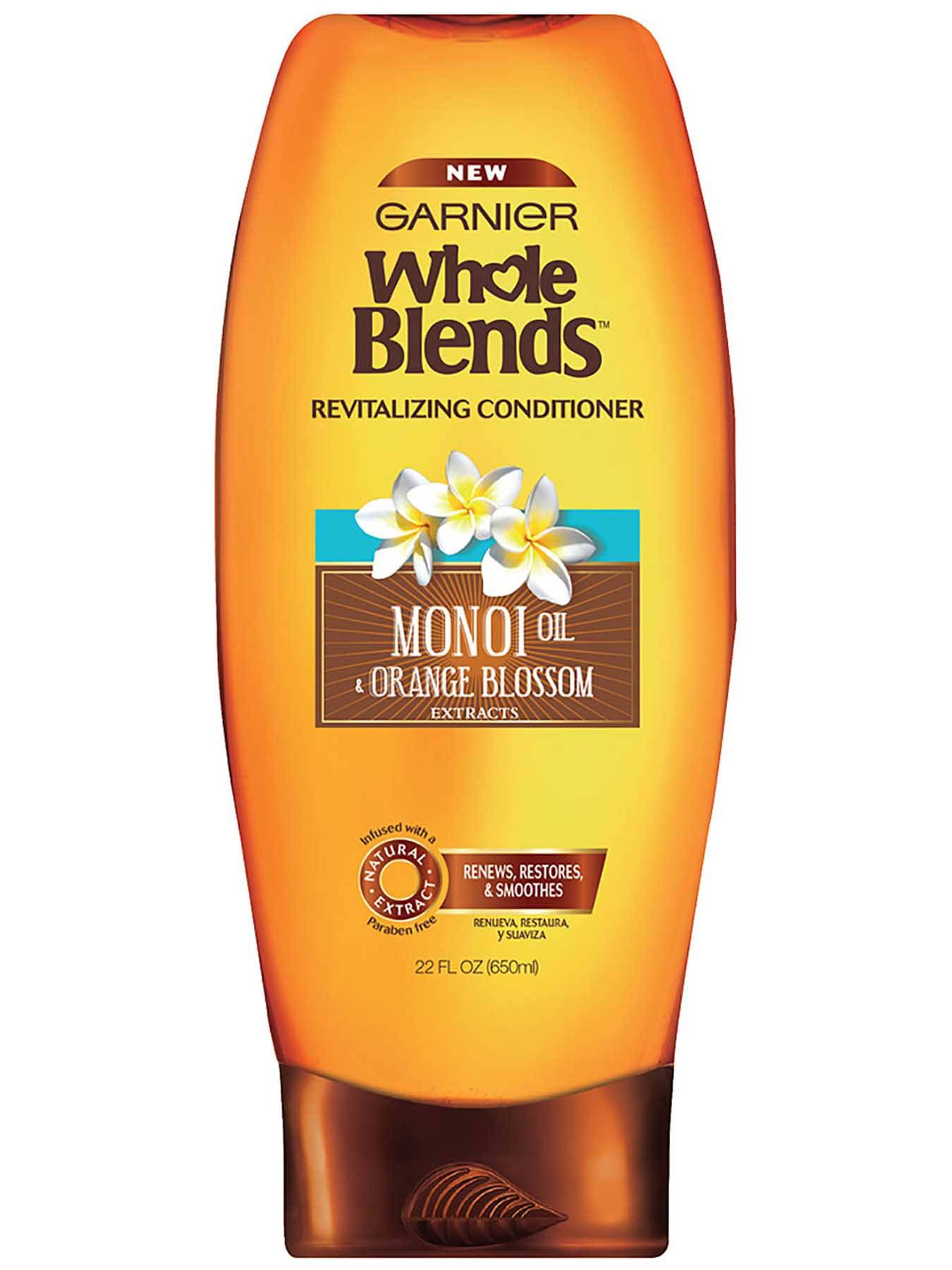 Garnier Whole Blends Revitalizing Conditioner Monoi Oil Orange Blossom Extracts Front Of Bottle