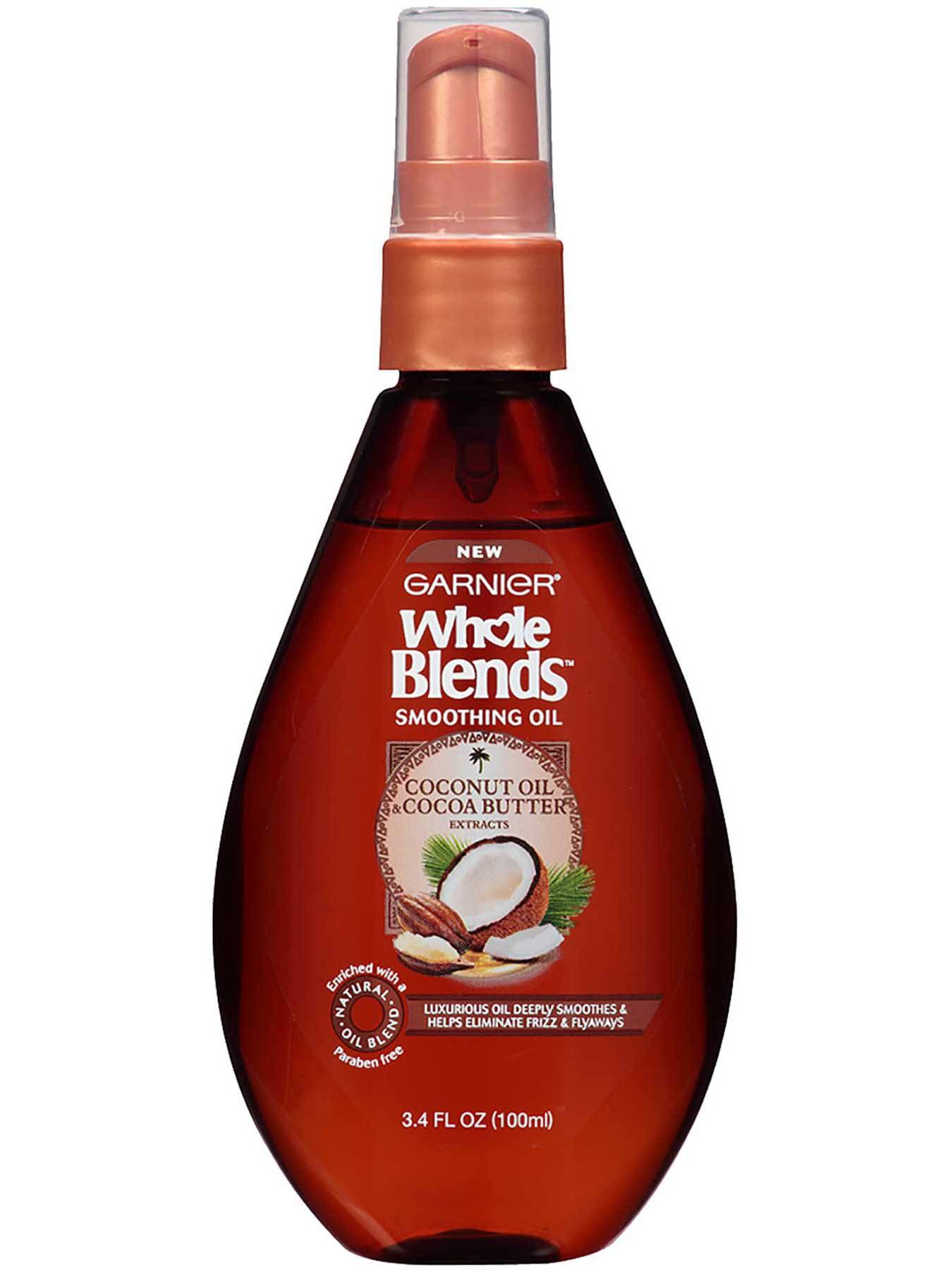 Image result for Garnier Whole Blends Smoothing Oil (coconut oil & cocoa butter)