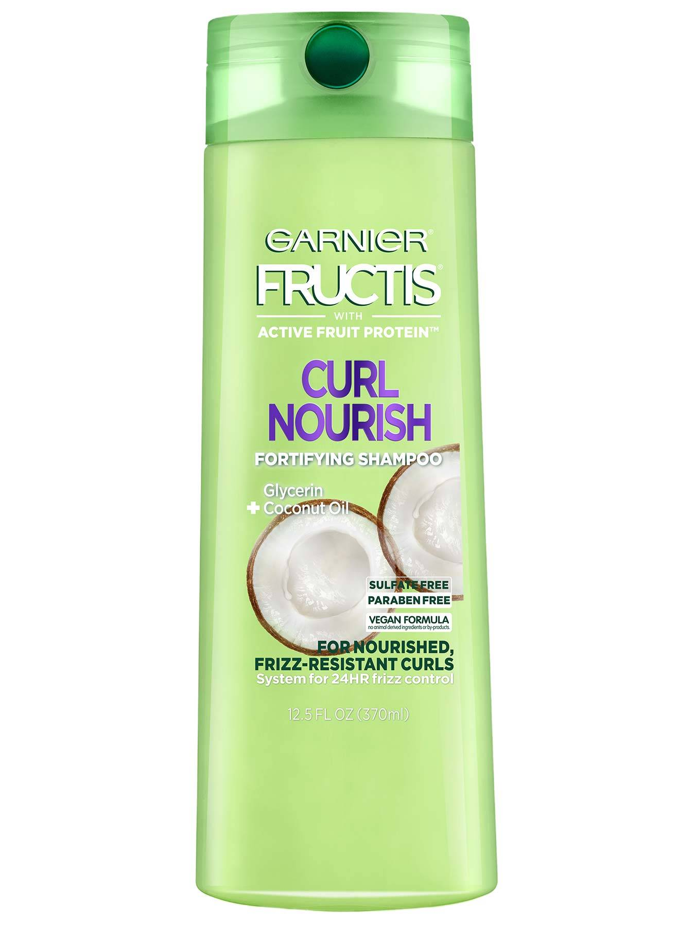Front view of Curl Nourish Shampoo for Resistant Curls.