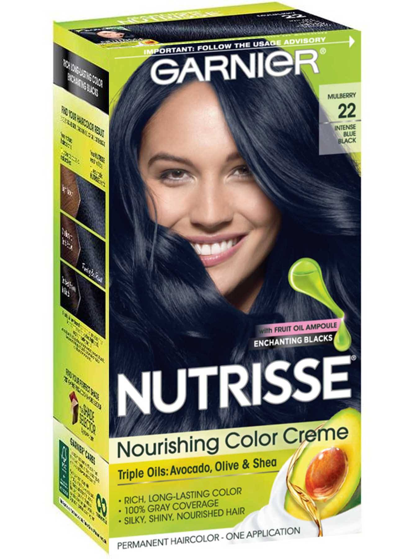Nourishing Color Creme 22 - Intense Blue Black Hair Color - Garnier