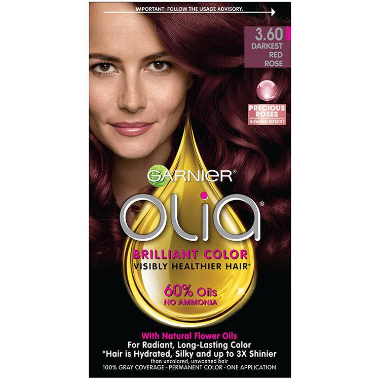 Olia Brilliant Color Hair Color 3.60 Darkest Red Rose