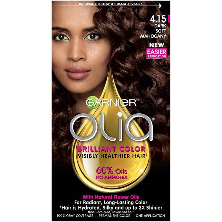 Olia Brilliant Color Hair Color 4.15 Dark Soft Mahogany