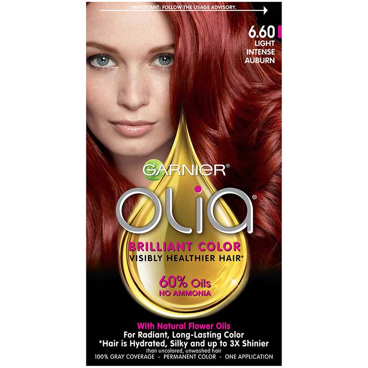 Olia Brilliant Color Hair Color 6.60 Light Intense Auburn