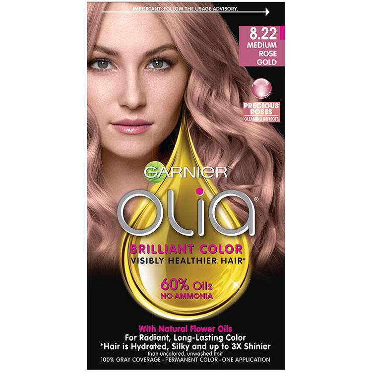 Olia Brilliant Color Hair Color 8.22 Medium Rose Gold
