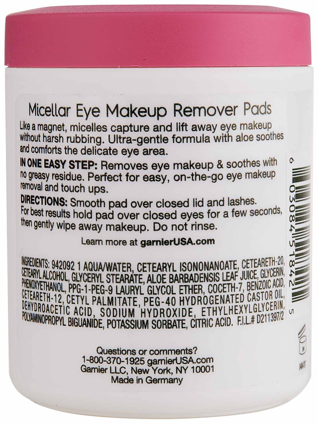 Back view of Micellar Eye Makeup Remover Pads.