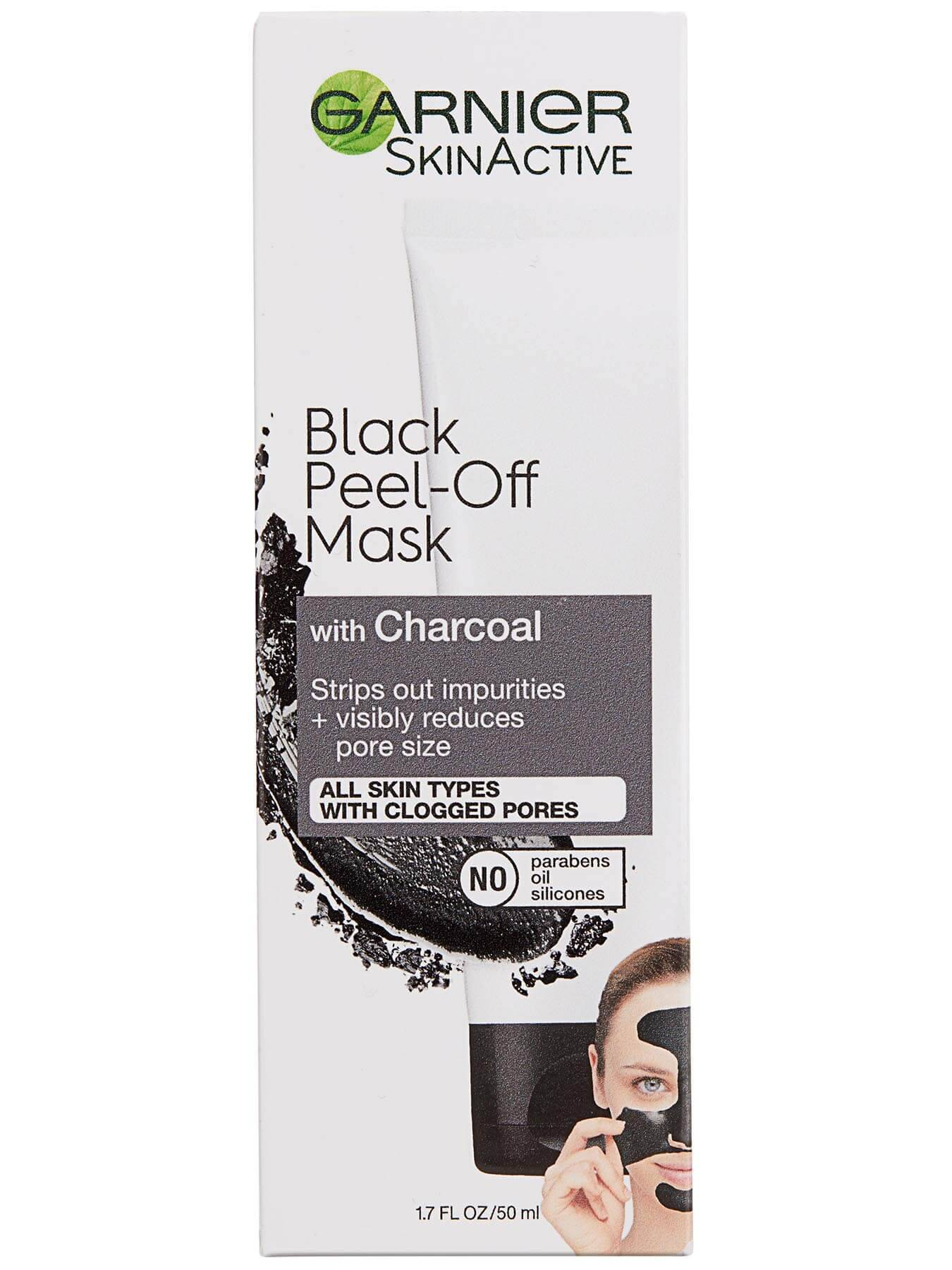 Front view of Black Peel-Off Mask with Charcoal box.
