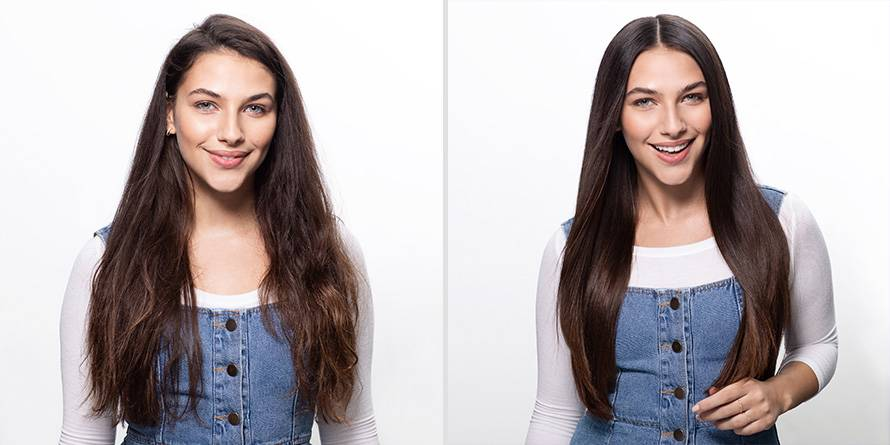Before and after photo of woman using Sleek & Shine Flat Iron Perfector Straightening Mist to blow dry her hair straight.